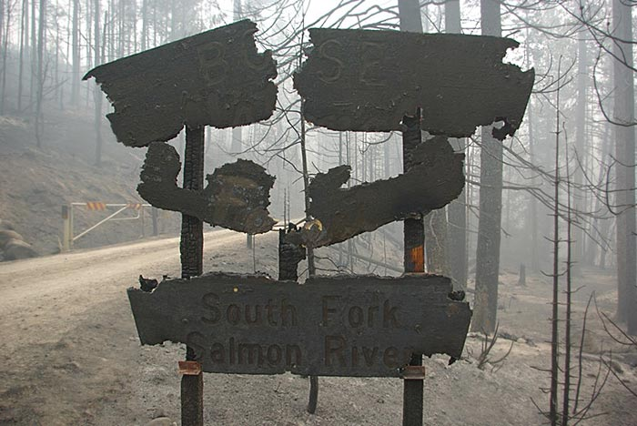 Burned signs on the South Fork Salmon River 2007 © Ken Cole