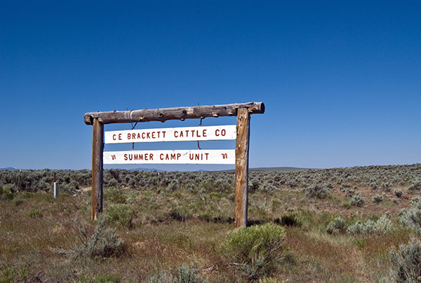 Brackett Cattle Company sign near Three Creek, Idaho