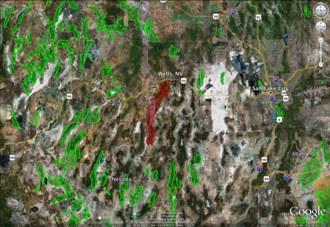 Map of sick bighorn populations in Nevada