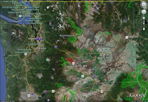 Map of sick bighorn populations in Washington
