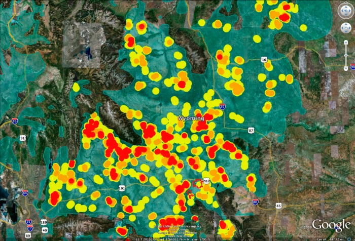 Project Area for Chokecherry and Sierra Madre Wind Energy with Audubon Grouse Density Mapping