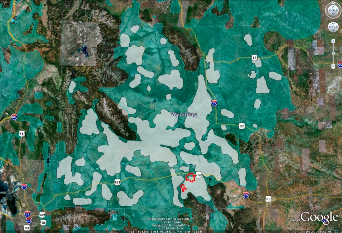 Project Area for Chokecherry and Sierra Madre Wind Energy with Wyoming Governor's Core Area mapping