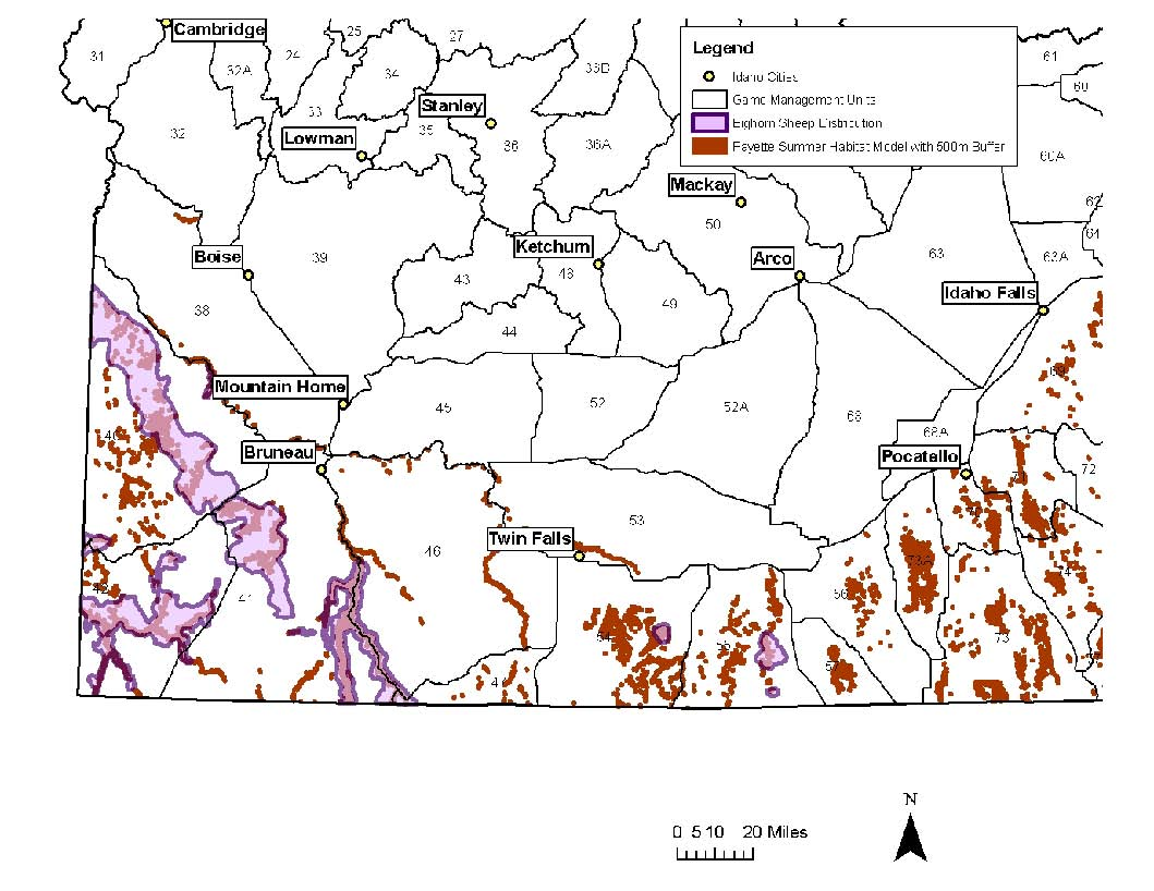 Bighorn distribution and habitat in southern Idaho